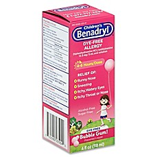 image of Children's Benadryl® 4 oz. Dye-Free Allergy Liquid in Bubble Gum