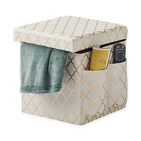 Sit store folding storage ottoman in gold bed bath for Ottoman to sit on