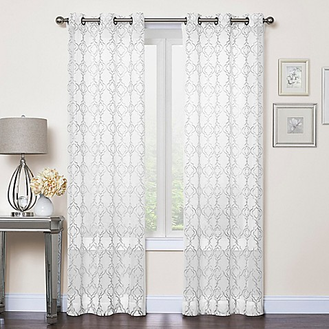 Callahan Embroidered Grommet Top Sheer Window Curtain Panel Pair Bed Bath Beyond