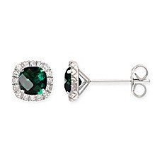 image of Sterling Silver Cushion-Cut Created-Emerald and White Sapphire Halo Stud Earrings