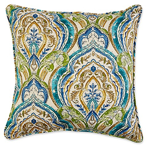 17 square outdoor throw pillow with welt cord in avaco blue bed bath beyond. Black Bedroom Furniture Sets. Home Design Ideas
