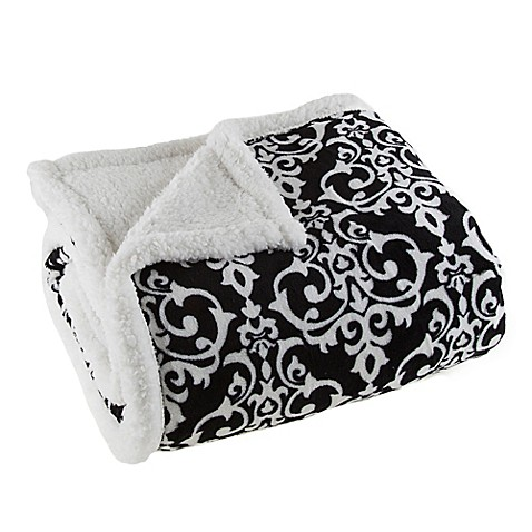 buy sherpa fleece throw blanket in black white from bed bath beyond. Black Bedroom Furniture Sets. Home Design Ideas
