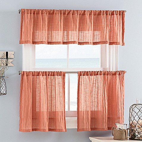 Buy weston mini 36 inch window curtain tiers in coral from bed bath beyond for 36 inch bathroom window curtains