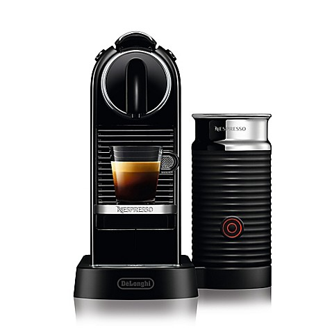 nespresso by delonghi citiz espresso maker bundle with aeroccino frother in black bed bath. Black Bedroom Furniture Sets. Home Design Ideas
