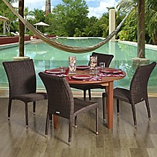 image of Amazonia Lorraine 5-Piece Eucalyptus Wood and Wicker Outdoor Patio Dining Set