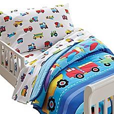 image of olive kids trains planes trucks toddler sheet set