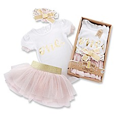 image of Baby Aspen 12-18M My First Birthday 3-Piece Tutu Outfit in Pink