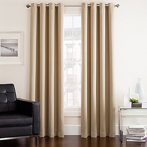 Buy twilight 54 inch room darkening grommet top window curtain panel in linen from bed bath beyond for Bed bath and beyond curtains for living room
