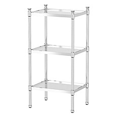 Image Of Gatco Taboret 3 Tier Glass And Metal Shelving Unit