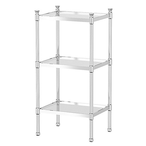Gatco taboret 3 tier glass and metal shelving unit bed for Metal bathroom shelving unit