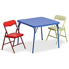 image of Flash Furniture Kids Colorful 3-Piece Folding Table and Chair Set