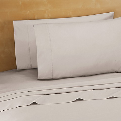 220-Thread-Count Cotton Percale Twin Sheet Set in Grey