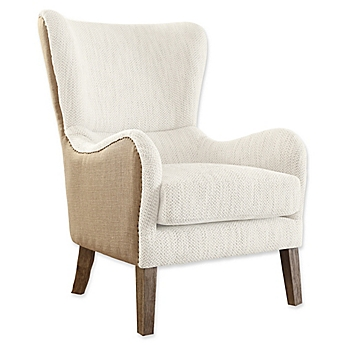 image of tommy hilfiger warner wingback chair in greybeige