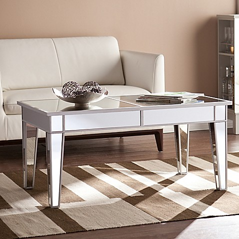 Southern Enterprises Mirage Mirrored Cocktail Table In
