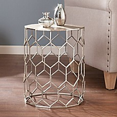 image of Southern Enterprises Clarissa Metal Accent Drum  Table in Silver