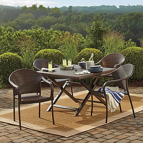 Image Of Barrington Wicker Folding Dining Table