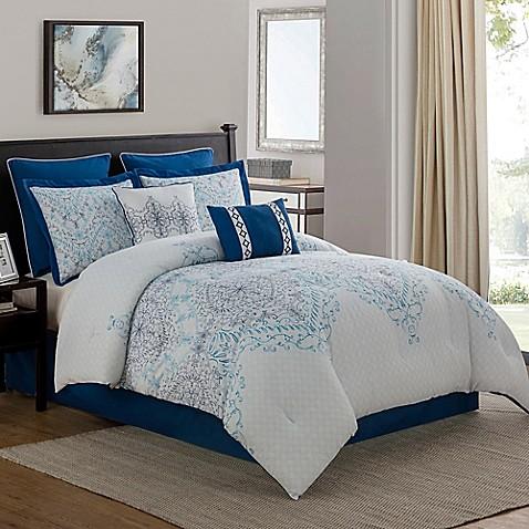 verona 8piece comforter set in navy
