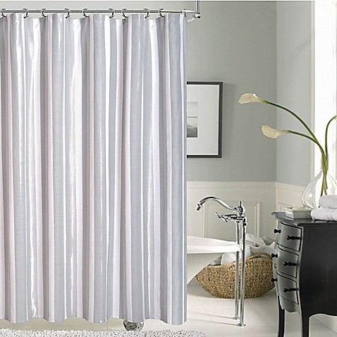 carlton striped shower curtain in silver