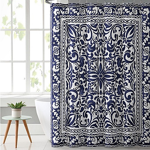 Vcny Eleanor Shower Curtain In Navy White Bed Bath Beyond