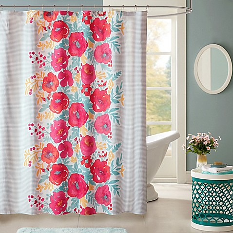 Buy intelligent design elodie shower curtain in coral from - Intelligent shower ...