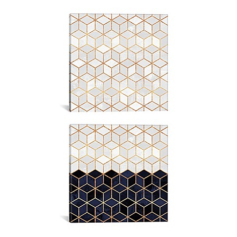 cube diptych 60 inch x 30 inch canvas wall art in white navy bed bath beyond. Black Bedroom Furniture Sets. Home Design Ideas