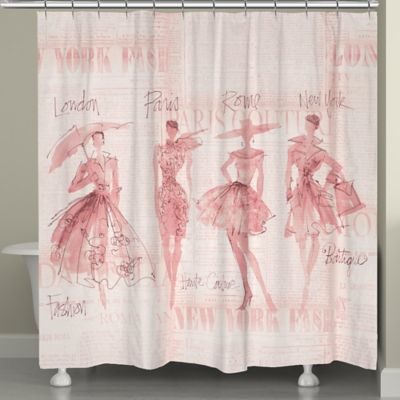 Laural Home Reg Pretty In Pink Sketches Shower Curtain Beige