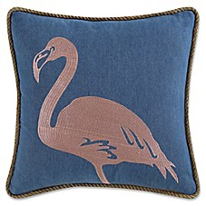 image of Coastal Living® Flamingo Square Throw Pillow in Navy/Pink