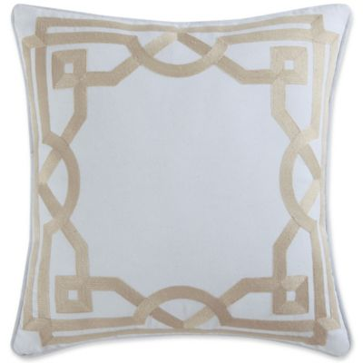 image of Coastal Living® Embroidery Frame Square Throw Pillow in Linen