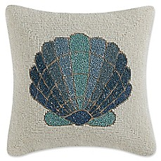 image of Coastal Living® Beaded Shell Square Throw Pillow in Teal/Ivory