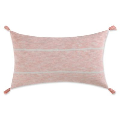 image of Coastal Living® Sketchy Stripe Oblong Throw Pillow in Coral