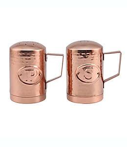 Salero y pimentero de acero inoxidable Thirstystone® Hammered Penny Copper