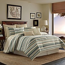 image of Tommy Bahama® Canvas Stripe Reversible Comforter Set in Medium Green