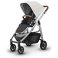 image of UPPAbaby® CRUZ 2017 Stroller with Leather Handles in Loic (White Fabric/Silver Frame)
