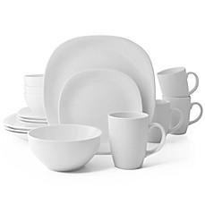 image of thomson pottery quadro 16piece dinnerware set in white - White Dinnerware Sets