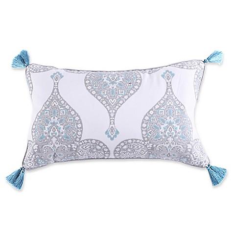 Levtex Home Massana Screenprint Tassel Throw Pillow in Grey/Blue - Bed Bath & Beyond
