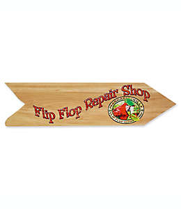 """Cuadro decorativo en forma de flecha con frase """"Flip Flop Repair Shop"""" Margaritaville®, en bronceado"""