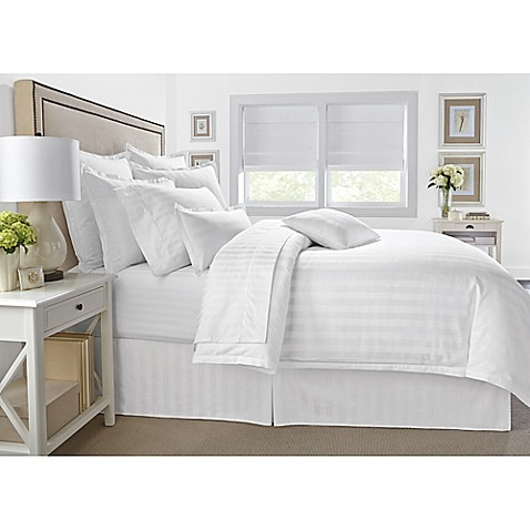 wamsutta 174 damask stripe comforter set in white bed bath buy wamsutta 174 500 thread count pimacott 174 damask stripe 941