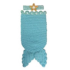 image of So 'dorable Crochet 2-Piece Mermaid Headband and Cocoon Set in Turquoise