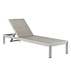 Modway Shore Outdoor Patio Rattan Chaise Sun Lounger In Silver/Grey