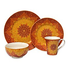 image of 222 Fifth Kashan 16-Piece Dinnerware Set in Red