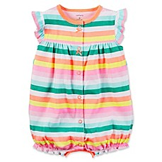image of carter's® Striped Snap-Front Flutter Sleeve Romper in Yellow/Green