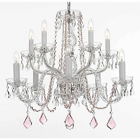 Venetian Style 10 Light Crystal Plug In Chandelier In