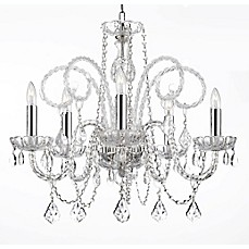 Plug in swag light bed bath beyond empress crystal plug in 5 light chandelier aloadofball Image collections