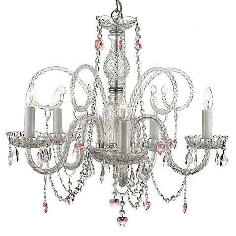 Venetian Style Crystal Plug In 5 Light Chandelier Bed
