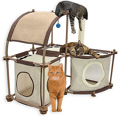 kitty city cat condo duplex in tan bed bath beyond. Black Bedroom Furniture Sets. Home Design Ideas