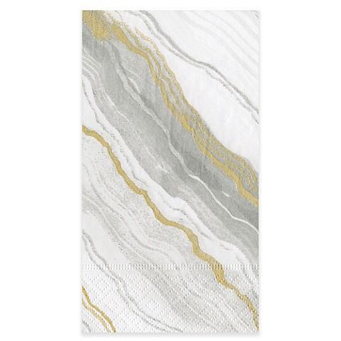 Caspari marble grey 15 count paper guest towels bed bath - Disposable guest towels for bathroom ...
