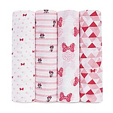 image of aden® Disney by aden + anais® 4-Pack Minnie Muslin Swaddle Blankets in Red/White