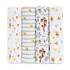 image of aden® Disney by aden + anais® 4-Pack Tigger/Winnie Muslin Swaddle Blankets