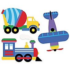 image of Wallies Olive Kids Trains, Planes, Trucks Peel & Stick Wall Decals