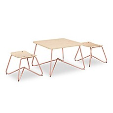 image of Kellan Kids Table with Stools in Dusty Pink (Set of 3)